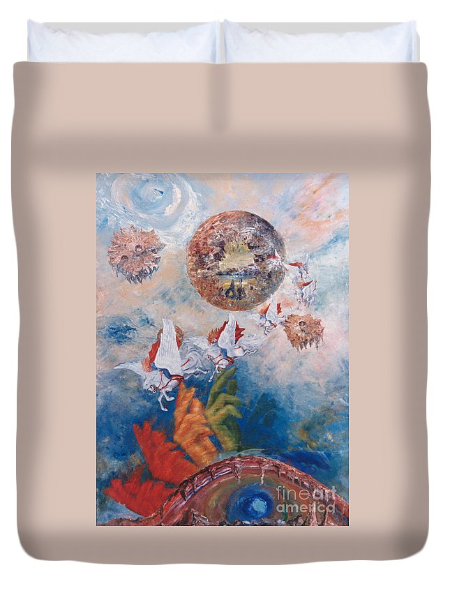 Freedom Duvet Cover featuring the painting Freedom - The Beginning Of All Being by Eva-Maria Di Bella