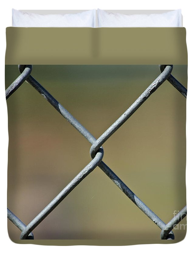 Fence Duvet Cover featuring the photograph Freedom Beyond by Rick Monyahan
