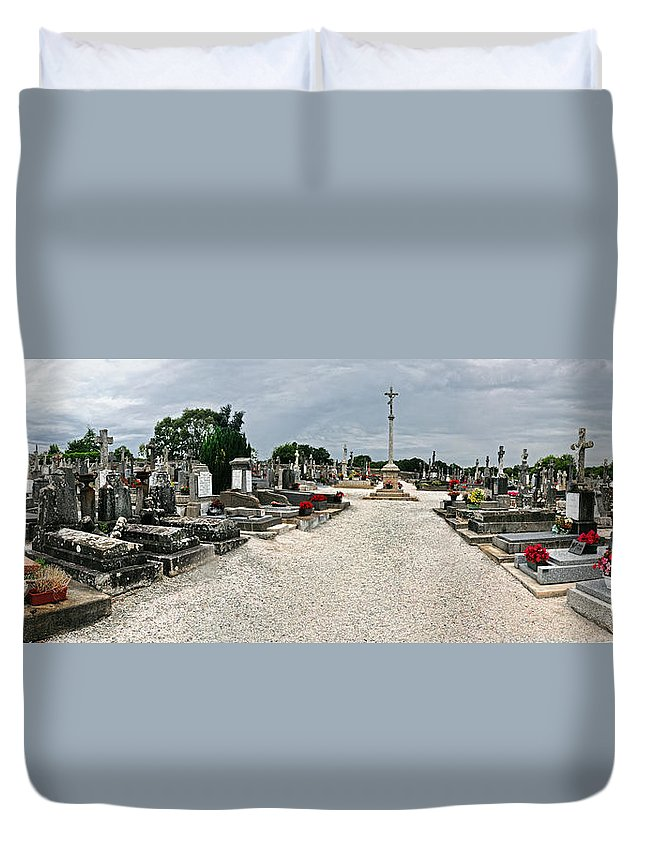 France Duvet Cover featuring the photograph French Cemetery by Dave Mills