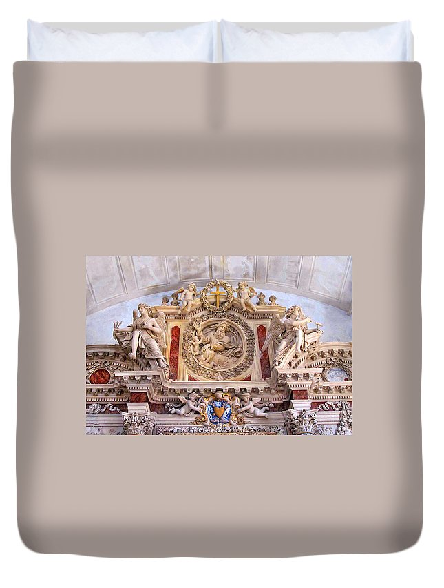 Church Duvet Cover featuring the photograph French Church Detail by Dave Mills