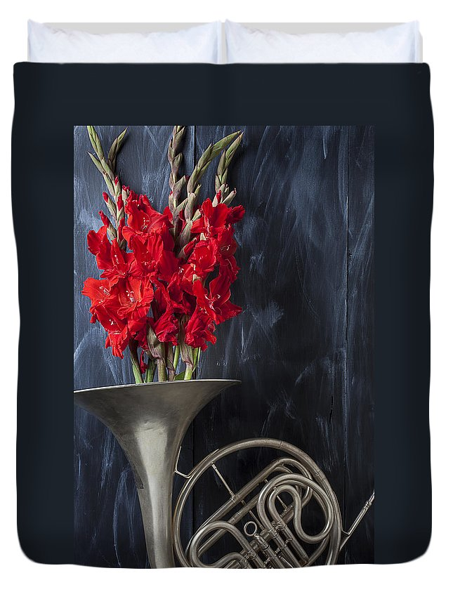 French Horn Duvet Cover featuring the photograph French Horn With Gladiolus by Garry Gay