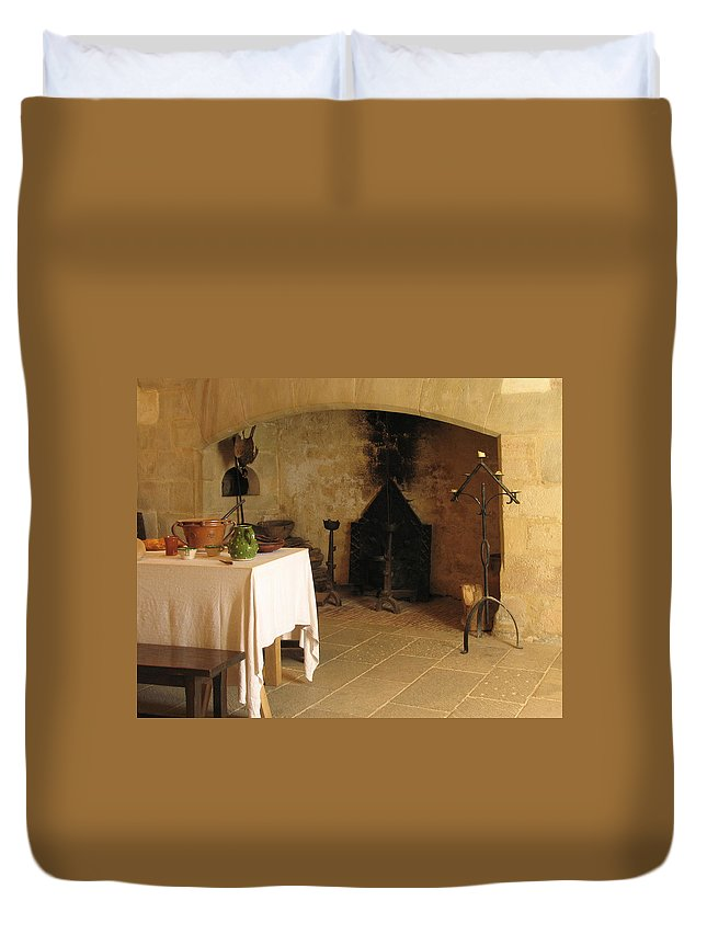 Kitchen Duvet Cover featuring the photograph French Kitchen In Castelnaud by Greg Matchick