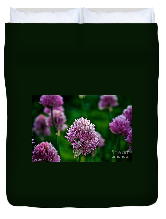 Plant Duvet Cover featuring the photograph Fresh Chives by Susan Herber