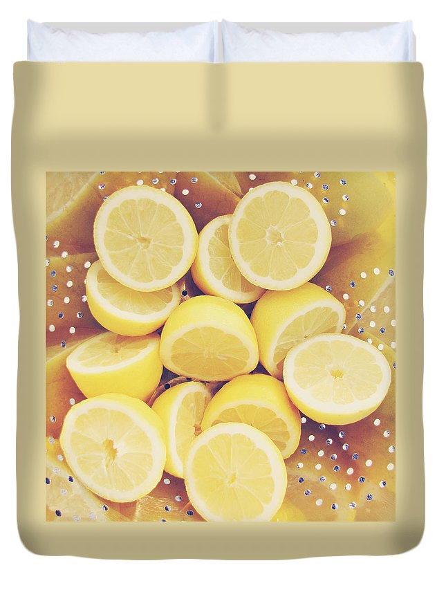 Lemon Duvet Cover featuring the photograph Fresh Lemons by Amy Tyler