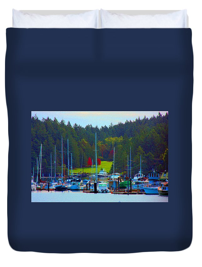 Harbor Framed Prints Duvet Cover featuring the photograph Friday Harbor Docks by Marie Jamieson