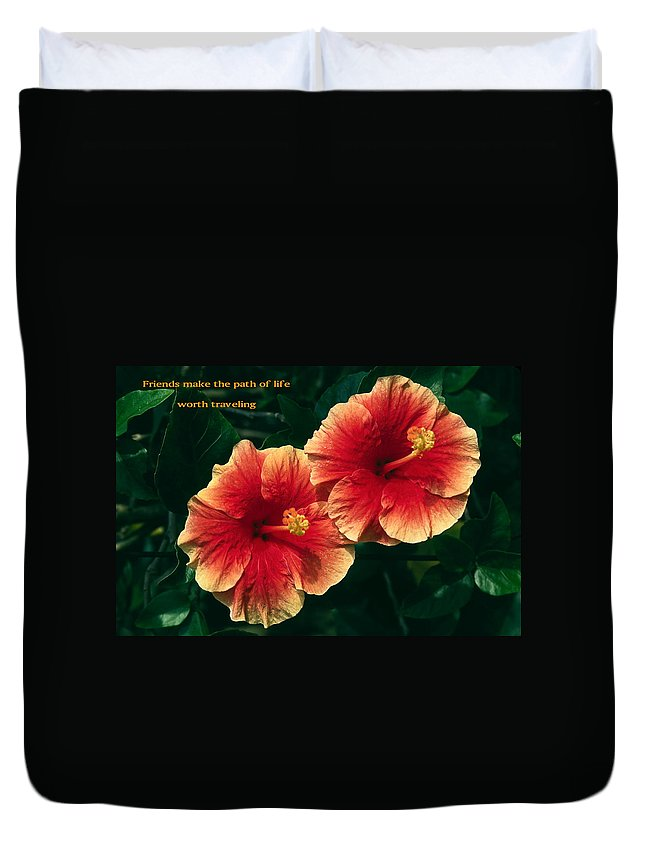 2 Hibiscus Flowers Close-up Duvet Cover featuring the photograph Friends Make The Path by Sally Weigand