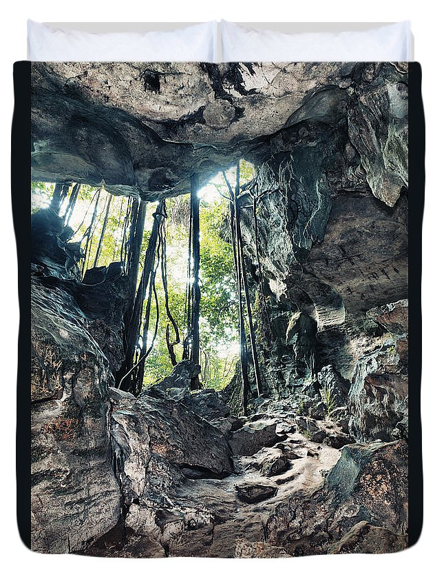 Cave Duvet Cover featuring the photograph From The Cave by MotHaiBaPhoto Prints