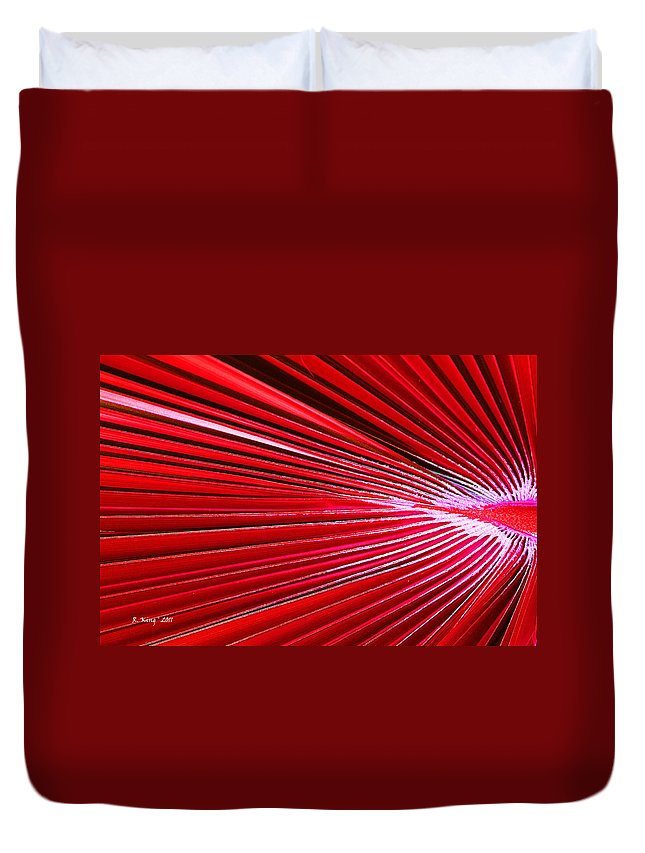 Roena King Duvet Cover featuring the photograph Frond Of Red by Roena King