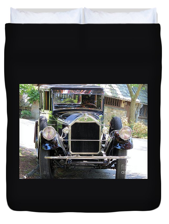 Model Duvet Cover featuring the photograph Front And Center by Art Dingo