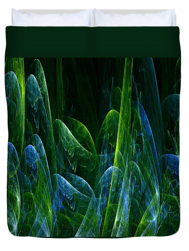 Abstract Tree Trees Wood Forest Green Blue Ice Frost Frosty Nature Expressionism Painting Fractal Duvet Cover featuring the painting Frosty Trees by Steve K