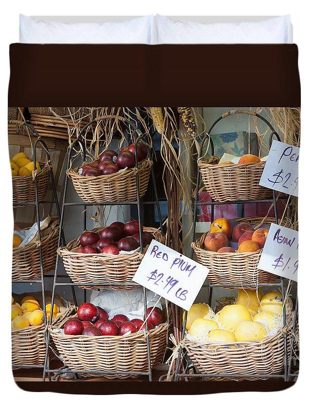 Clarence Holmes Duvet Cover featuring the photograph Fruit For Sale by Clarence Holmes