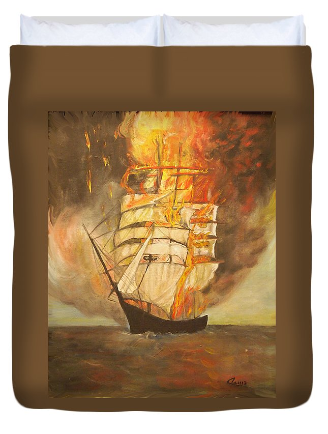Fire Duvet Cover featuring the painting Fuego Al Mar by Veronica Zimmerman
