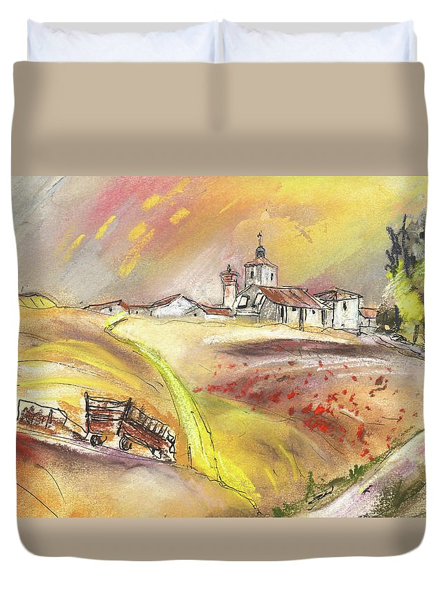 Spain Duvet Cover featuring the painting Fuente Del Cuellar In Spain by Miki De Goodaboom