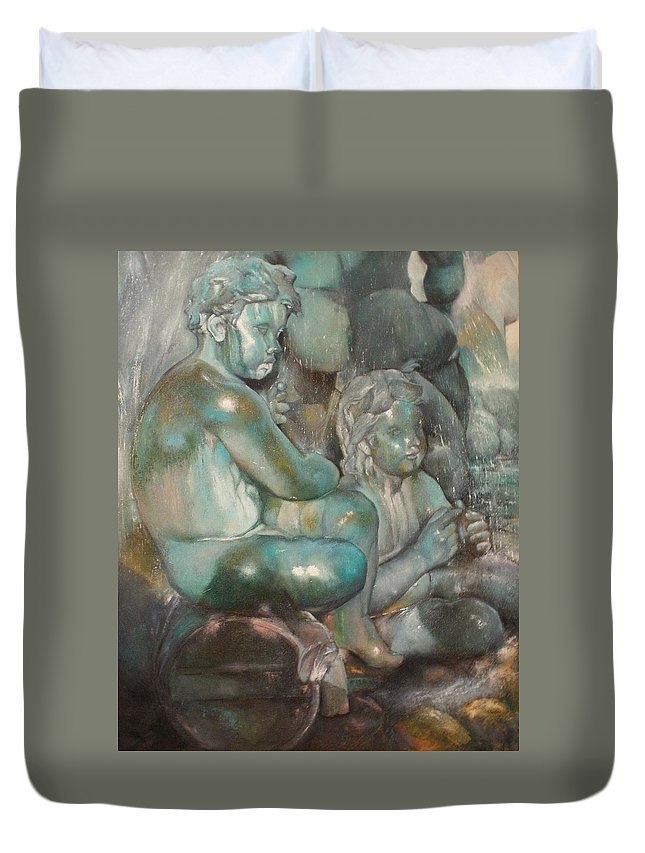 Art Fine Duvet Cover featuring the painting Fuente Girondins-Detalle by Tomas Castano