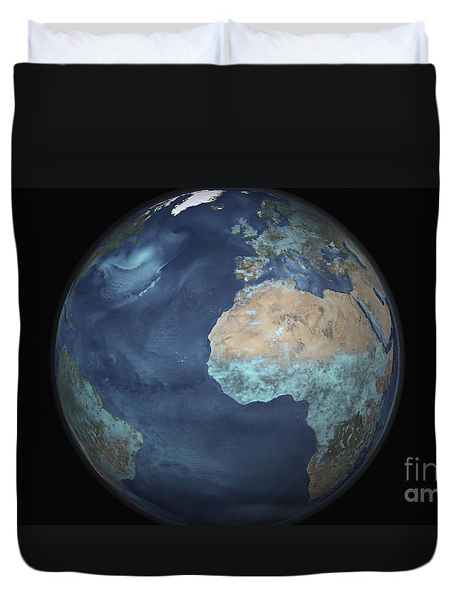 Copy Space Duvet Cover featuring the photograph Full Earth Showing Evaporation by Stocktrek Images
