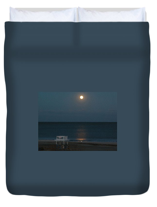 Tybee Island Duvet Cover featuring the digital art Full Moon Over Third Street Guard Station by Rhodes Rumsey