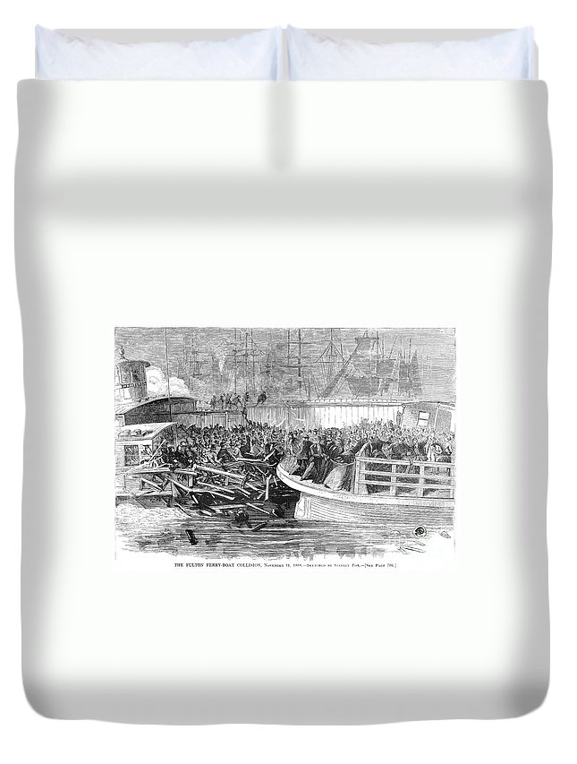 1868 Duvet Cover featuring the photograph Fulton Ferry Boat, 1868 by Granger