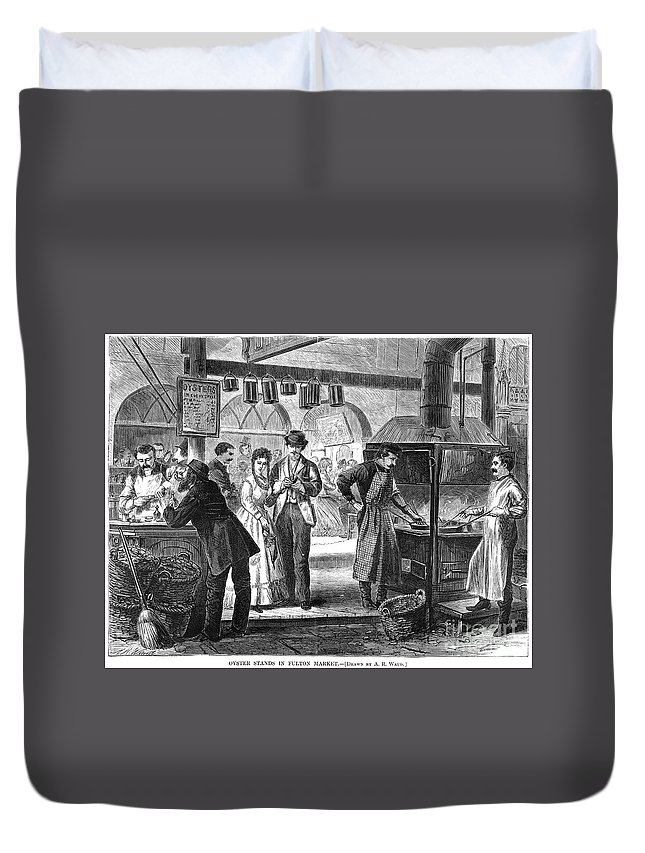 1870 Duvet Cover featuring the photograph Fulton Fish Market, 1870 by Granger