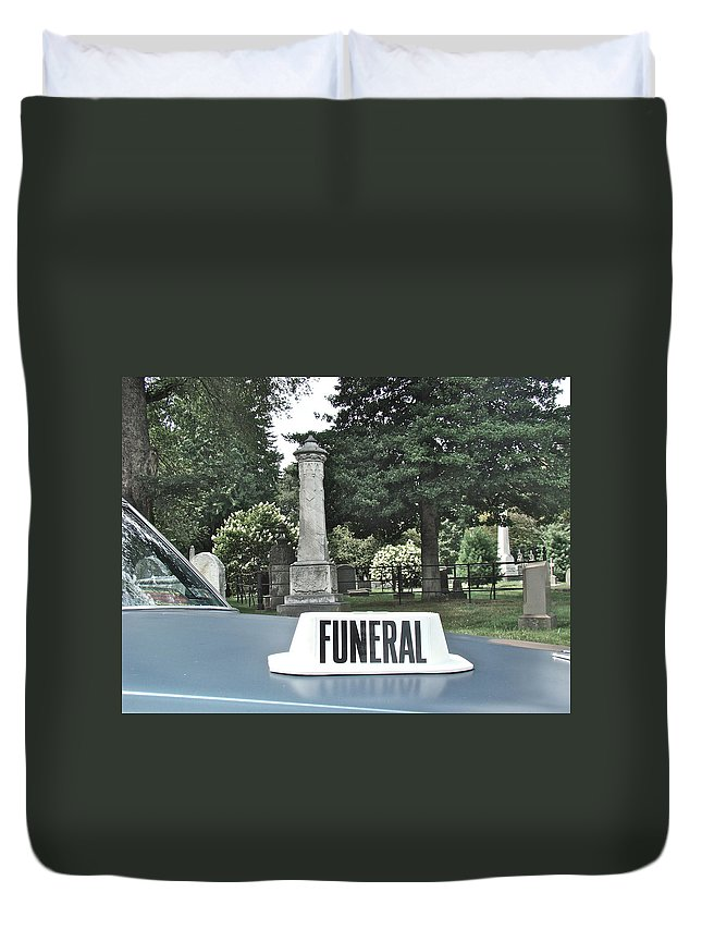 Funeral View Cemetery Laurel Hill Philadelphia Duvet Cover featuring the photograph Funeral by Alice Gipson