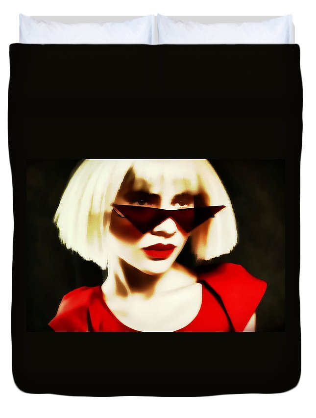 Blonde Pinhole Effect Red Glasses Woman Lady Duvet Cover featuring the photograph Funky Red Glasses by Alice Gipson