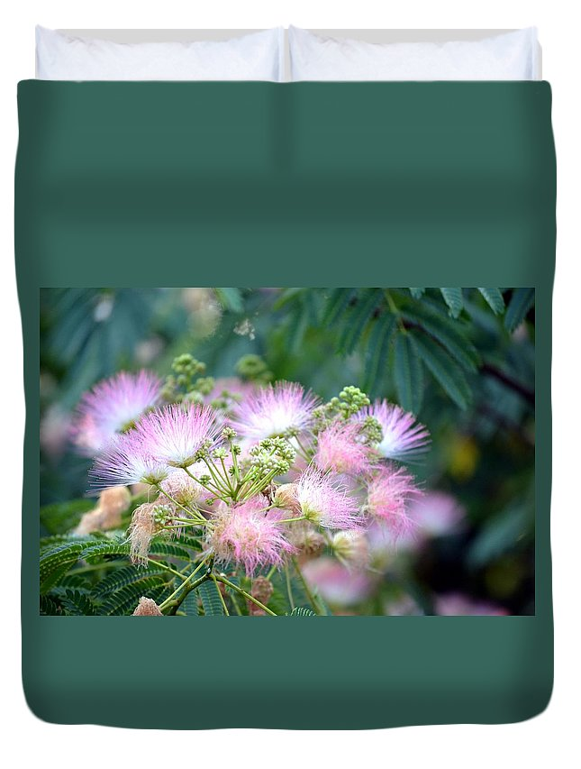 Furry Duvet Cover featuring the photograph Furry Pink Bouquet by Maria Urso