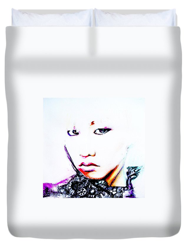 G-dragon Duvet Cover featuring the mixed media G-dragon by Molly Picklesimer