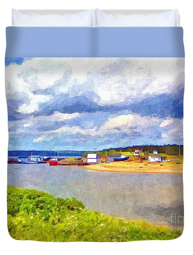 Waterscape Duvet Cover featuring the painting Gabarus Cape Breton Nova Scotia Fishing Village by Shawna Mac