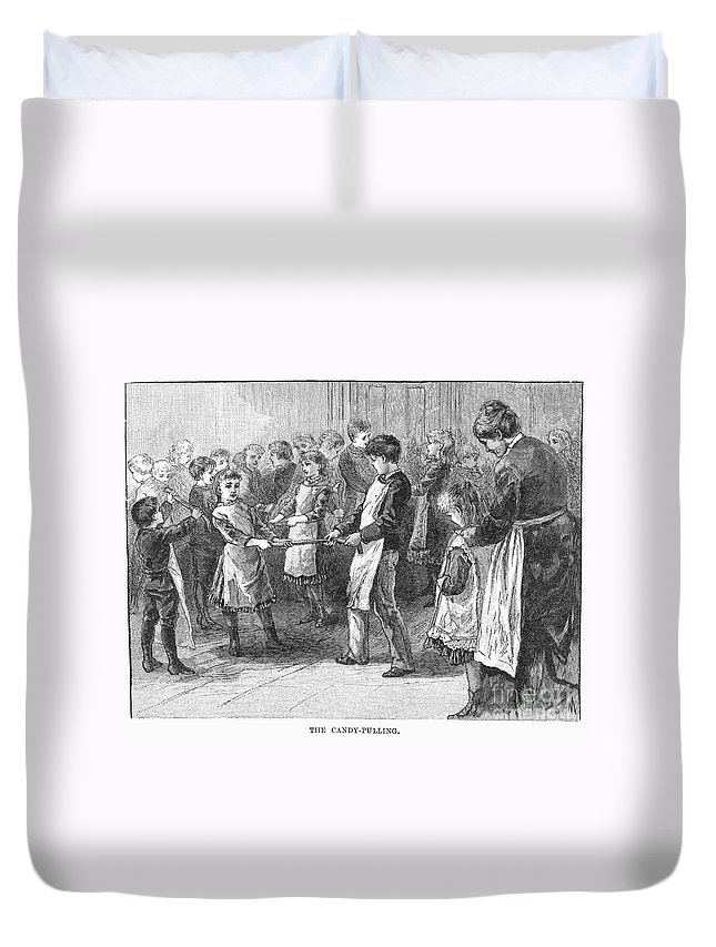 19th Century Duvet Cover featuring the photograph Games: Candy Pulling by Granger
