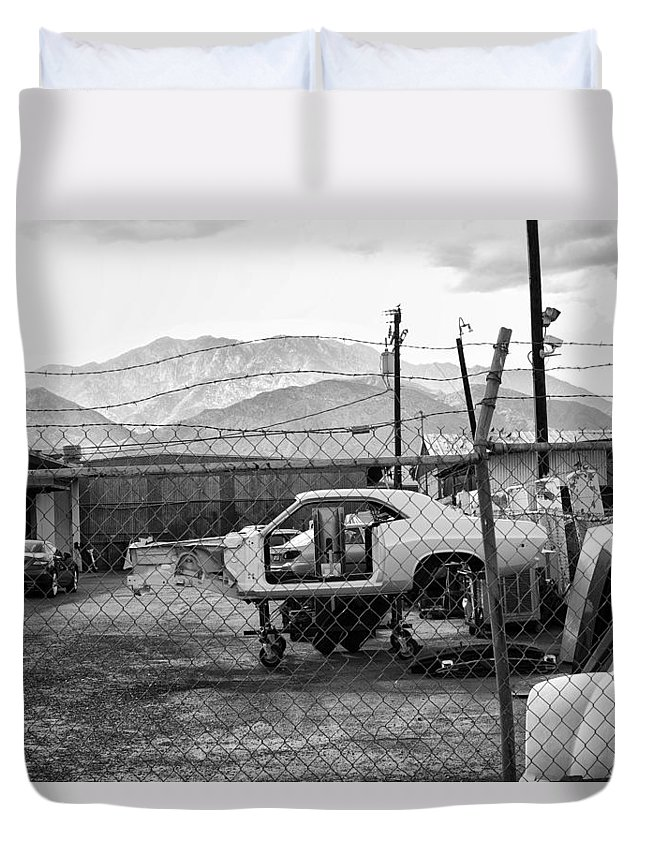 Palm Springs Duvet Cover featuring the photograph Garage Days Bw by William Dey