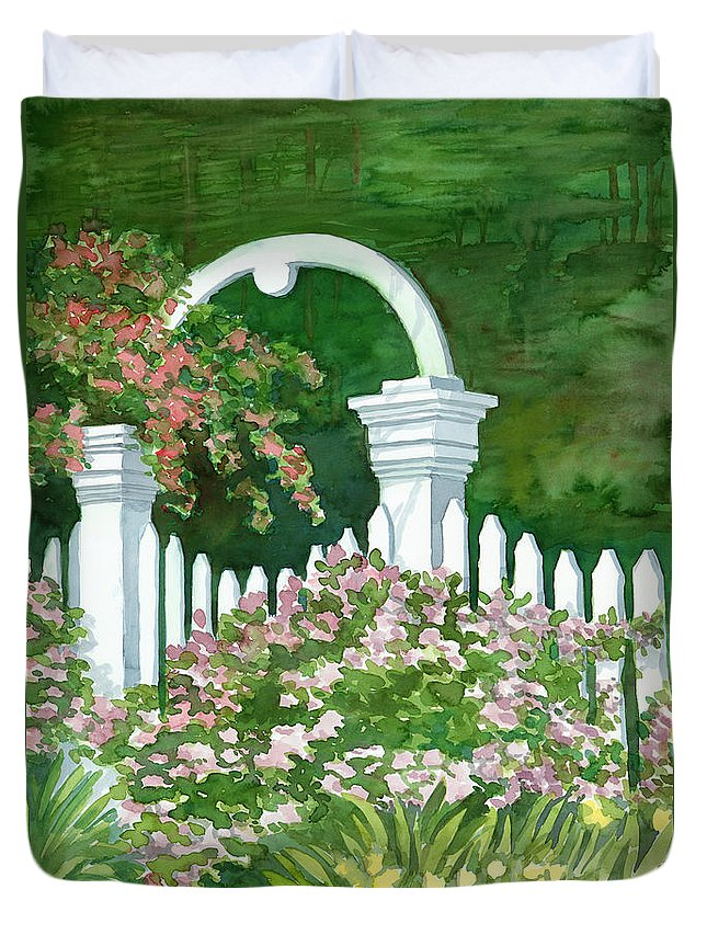 Garden Duvet Cover featuring the painting Garden Circle Gate by Audrey Peaty