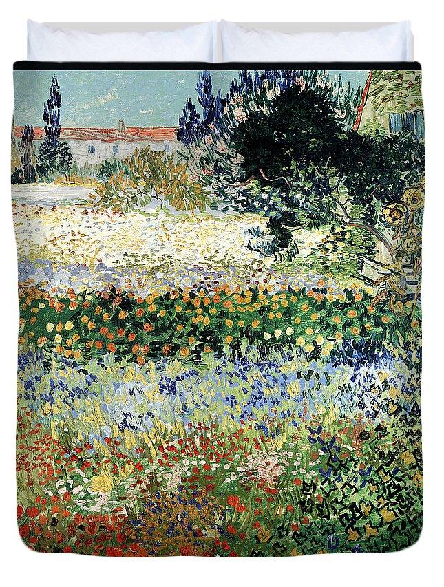 Garden In Bloom Duvet Cover featuring the painting Garden in Bloom by Vincent Van Gogh