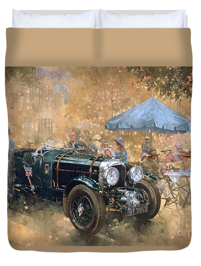 Bentley Duvet Cover featuring the painting Garden Party With The Bentley by Peter Miller