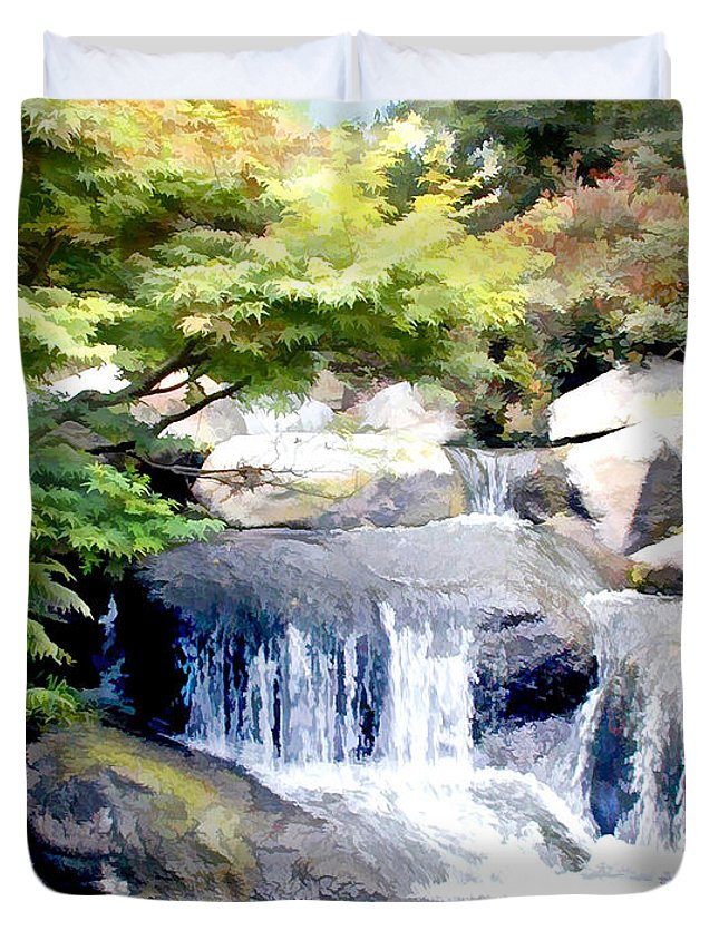 Japanese Garden Duvet Cover featuring the painting Garden Waterfall With Koi Pond by Elaine Plesser