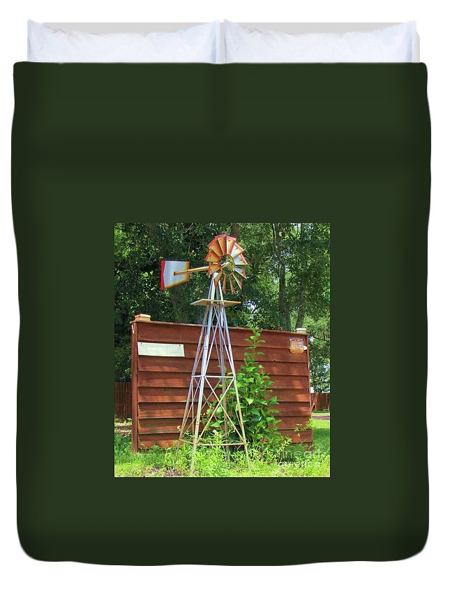 Windmill Duvet Cover featuring the photograph Garden Windmill by Michelle Powell