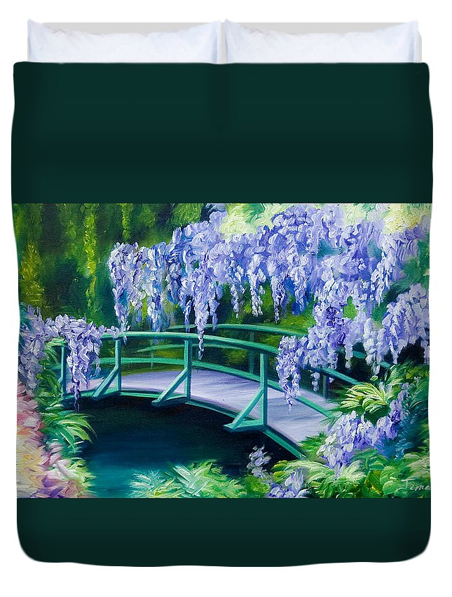 Bright Clouds Duvet Cover featuring the painting Gardens of Givernia II by James Christopher Hill