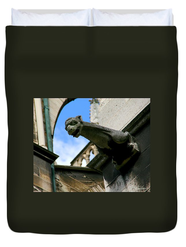 Gargoyle Duvet Cover featuring the photograph Gargoyle Of Saint Denis by Diana Haronis