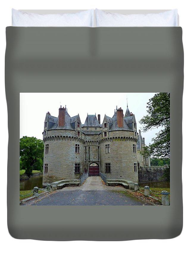 Castle Duvet Cover featuring the photograph Gate To Chateau De La Bretesche by Carla Parris