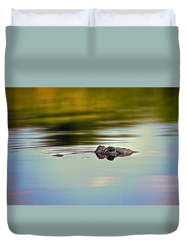 American Alligator Duvet Cover featuring the photograph Gator Eyes by Sally Weigand