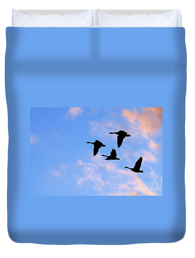 Photography Duvet Cover featuring the photograph Geese Silhouetted At Sunset - 2 by Larry Ricker