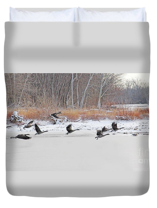 Geese Duvet Cover featuring the photograph Geese Take Flight Over The Maumee River by Jack Schultz