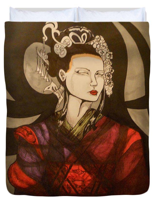 Geisha Duvet Cover featuring the drawing Geisha by Rebecca Stephens