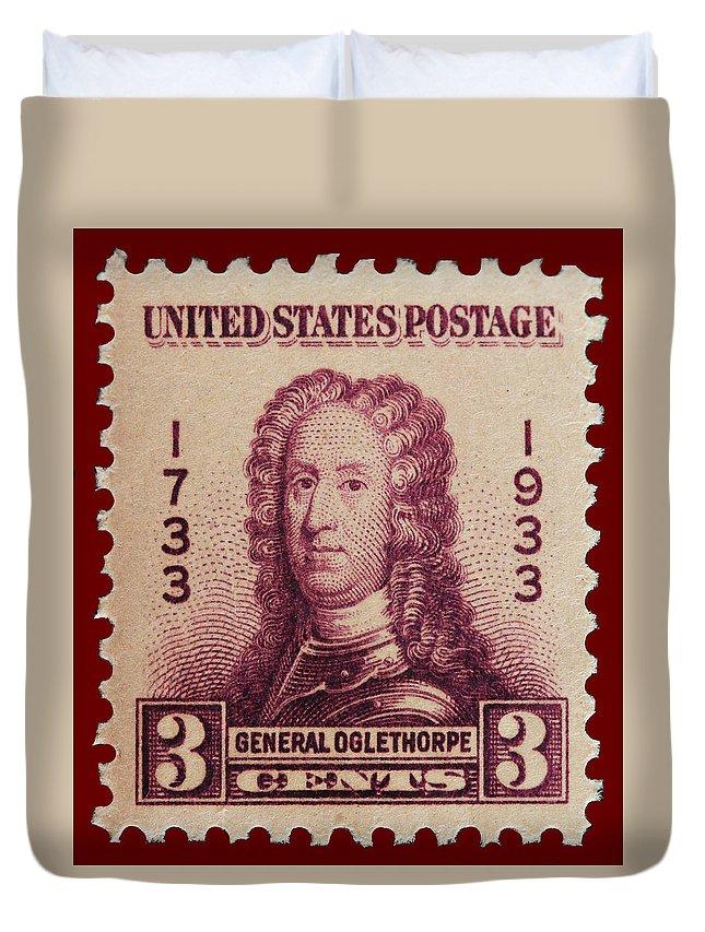 General James Oglethorpe Postage Stamp Duvet Cover featuring the photograph General James Oglethorpe Postage Stamp by James Hill