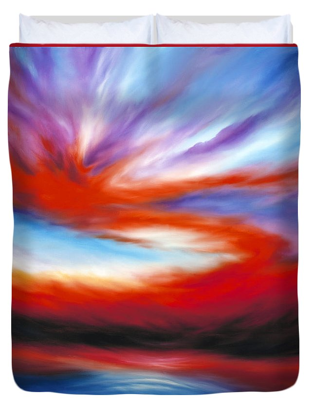 Sunrise; Sunset; Power; Glory; Cloudscape; Skyscape; Purple; Red; Blue; Stunning; Landscape; James C. Hill; James Christopher Hill; Jameshillgallery.com; Ocean; Lakes; Creation; Genesis Duvet Cover featuring the painting Genesis II by James Christopher Hill