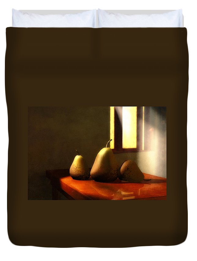 Pears Duvet Cover featuring the mixed media Genetic Modification by Georgiana Romanovna