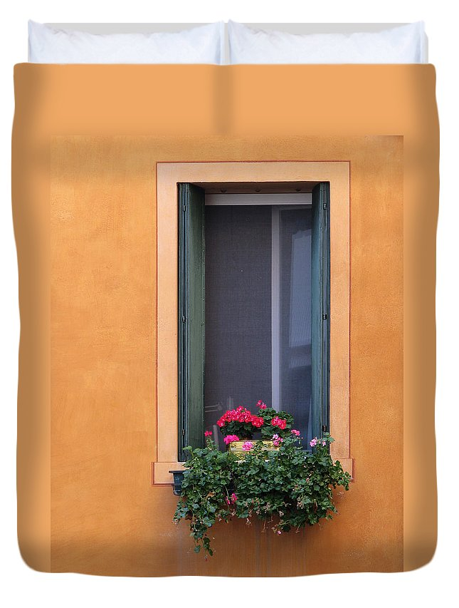 Geraniums Duvet Cover featuring the photograph Geraniums In A Yellow Window In Treviso Italy by Greg Matchick