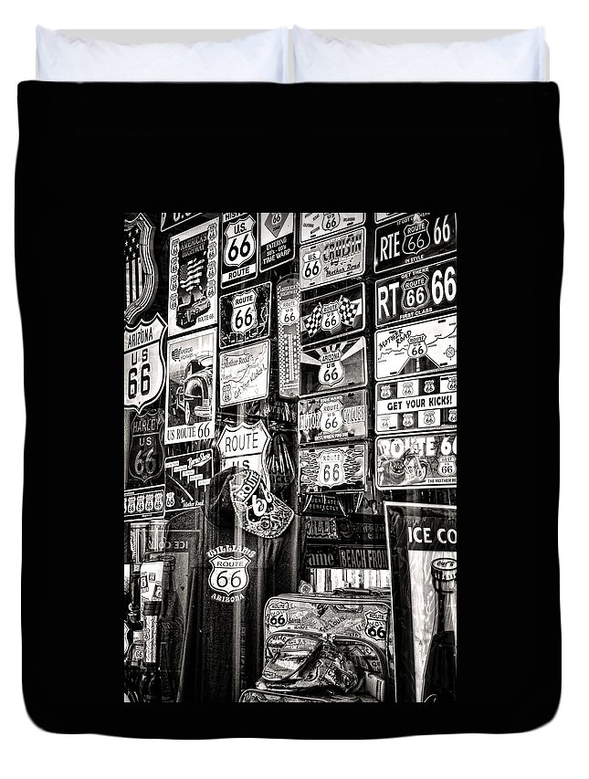 Souvenirs Duvet Cover featuring the photograph Get Your Kicks On Route 66 II by Diane Wood