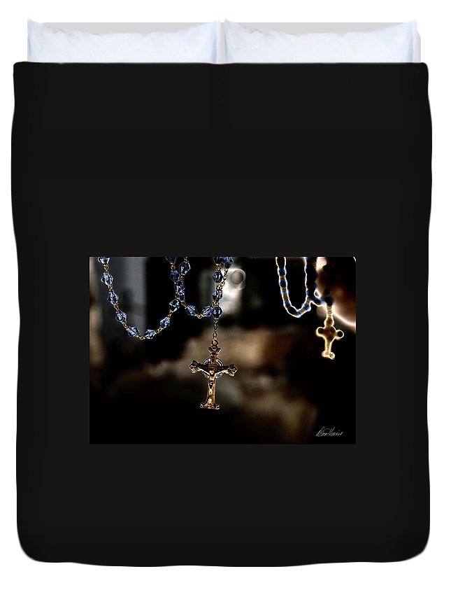 Rosary Duvet Cover featuring the photograph Ghost Of A Rosary by Diana Haronis