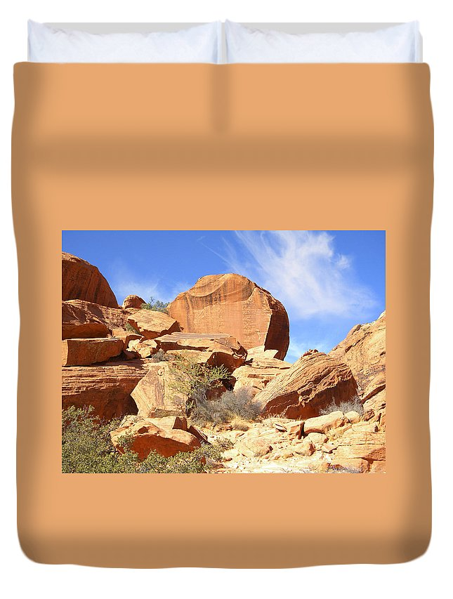 Desert Duvet Cover featuring the photograph Giant Sandstone Boulders by Frank Wilson