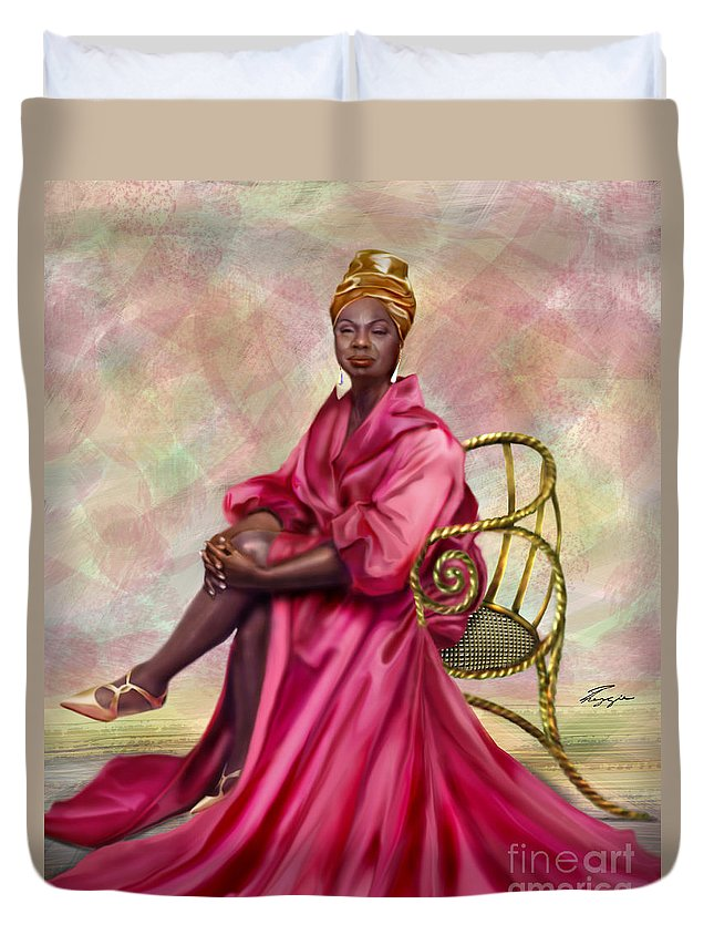 Nina Simone Duvet Cover featuring the painting Gifted And Black-no Longer Looking Back by Reggie Duffie