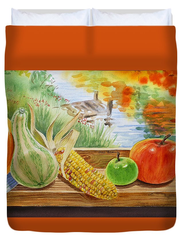 Autumn Duvet Cover featuring the painting Gifts From Fall by Irina Sztukowski